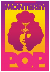Poster of Monterey Pop documentary features pop art painting.
