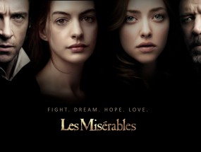 Four actors who star in Les Miserable are shown in this movie poster.