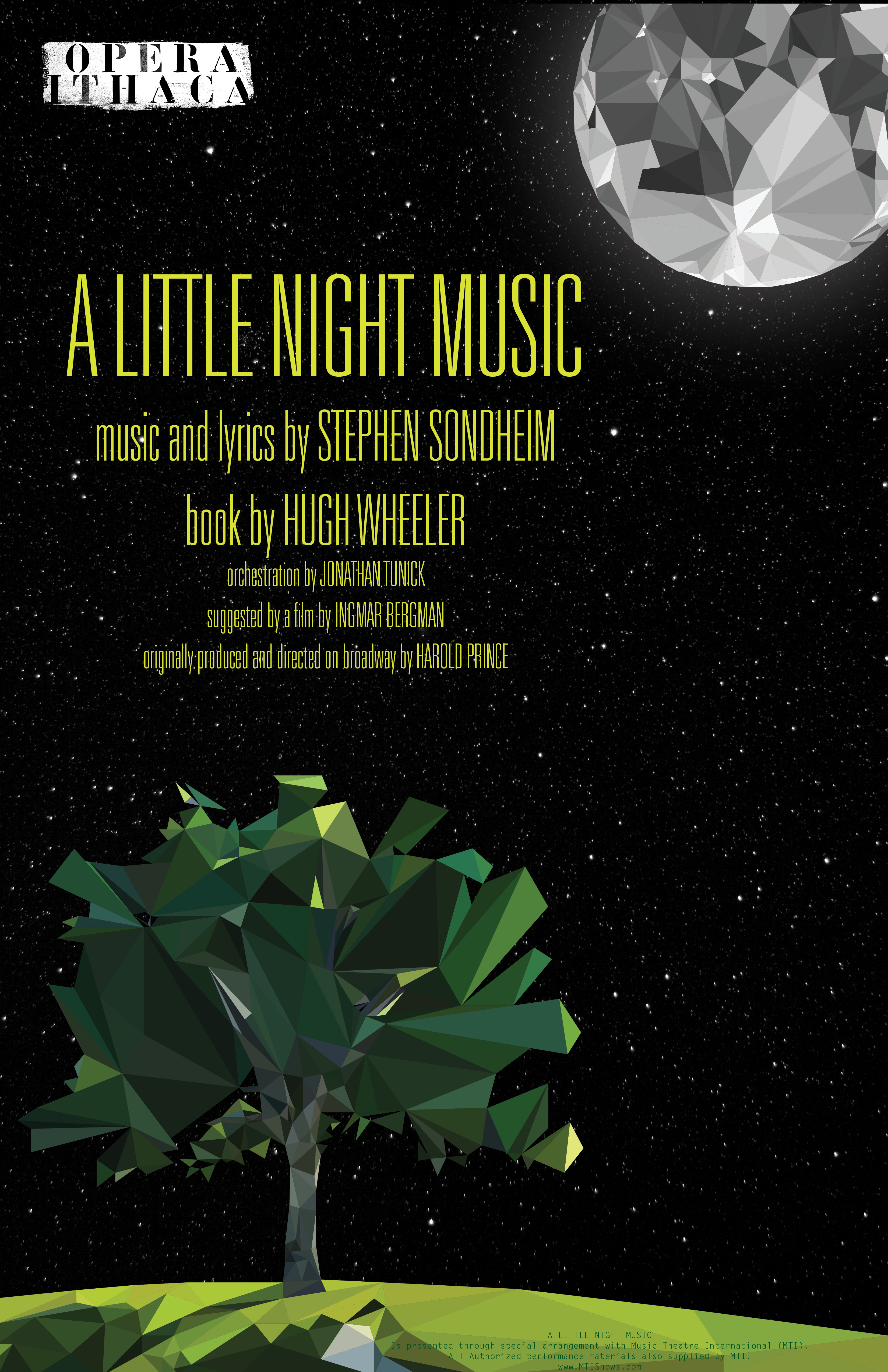 Poster Shows Tree Standing In Moonlight Promoting Opera Ithacas A Little Night Music