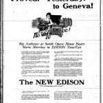 "An advertisement for the ""New"" Edison Phonograph sold in Geneva at the Ferris Music Shoppe. It uses a description of the previous night's event, the Edison Tone Test at the Smith Opera House, as a tool to sell the product (""Proved! Yesterday! to Geneva!"")."
