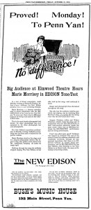 """An advertisement for the """"New"""" Edison Phonograph, which describes the previous night's event, the Edison Tone Test at the Elmwood Theatre. This Tone Test occurred a year after the one at the Smith (""""Proved! Monday! To Penn Yan!"""")."""
