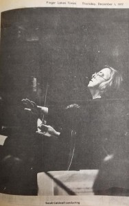 Published in the Finger Lakes Times, this picture is of Sarah Caldwell conducting the Rochester Philharmonic Orchestra. It was taken during the fateful night in 1977 that was feared to be the last ever performance at the Smith. Courtesy of the Geneva Historical Society.