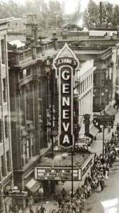 "This clearly shows the entire, original Schine's Geneva Theatre marquee, circa 1951 based on the movie advertised. It's important to note that while this is almost exactly what the marquee would've looked like in 1931, the word ""Geneva"" written in script on top of the marquee box is an addition that was not original to the 1931 marquee. Courtesy of the Geneva Historical Society."