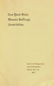 Cover of program from the 1897 New York State Woman Suffrage Convention, held at Collins Music Hall and The Smith Opera House.