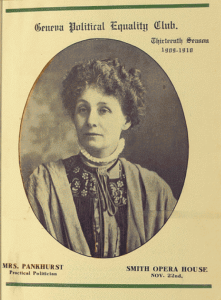 Program cover from Emmeline Pankhurst's November 22, 1909 speaking engagement at The Smith, presented under the auspices of the Geneva Political Equality Club.