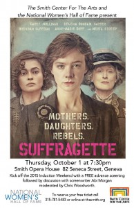 Poster from the advance screening of Suffragette in October 2015, co-sponsored by The Smith and the National Women's Hall of Fame.