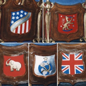 Collage of additional pictures of the crests, found in the Smith Opera House Archives