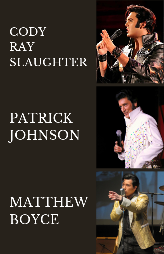 All three Elvis performers, from top to bottom: Cody Ray Slaughter, Patrick Johnson, Matthew Boyce