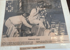 Photograph of film crew at work in The Smith, June 1977 as part of the shooting of The Final Show, a film by Rochester filmmaker Joseph Janowicz. Included in Personal Scrapbook of Steve Hastings.