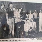 Photograph of cast and crew at the end of shooting The Final Show, a film by Rochester filmmaker Joseph Janowicz. Included in Personal Scrapbook of Steve Hastings.