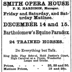 Advertisement for performances of Equine Paradox at Smith Opera House, December 14-15, 1894, found in Geneva Advertiser, Dec. 11, 1894, pg. 2