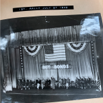 Photograph of July 27, 1942 War Bond Rally held at The Smith in conjunction with a screening of Mrs. Miniver. This photograph appears in Gerald Fowler's Scrapbook, housed in the Geneva Historical Society Archives.