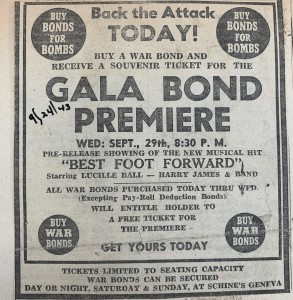 Advertisement for a 1943 screening of Best Foot Forward and War Bond Rally. This ad appears in Gerald Fowler's Scrapbook, housed in the Geneva Historical Society Archives.