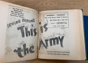 Advertisement for a 1943 screening of This is the Army and Military Parade that preceded screening. This ad appears in Gerald Fowler's Scrapbook, housed in the Geneva Historical Society Archives.