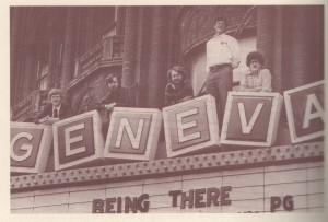 The Fearless Five are pictured here on the Smith's old marquee. From left to right, they are Steve Hastings, Paul Brown, Dan Belliveau, Ken Camera, and Jeff Rathaus (McNally 76).