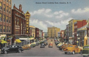 Postcard of Seneca St., likely 1940s or 1950s, showing automobile congestion. From the personal collection of Chris Woodworth.