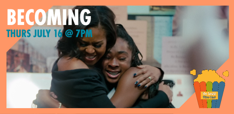 Text that reads: Becoming Thursday July 16. A photo shows Michelle Obama hugging a Black teenage girl