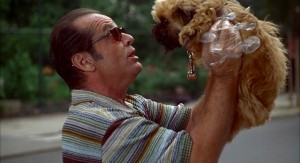 A man in sunglasses holds a small dog up to his face