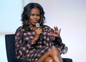 Michelle Obama addresses an audience