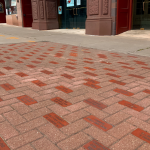 Custom bricks laid in front of the Smith Opera House