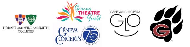 Logos for Geneva Theater Guild, HWS Colleges, Geneva Concerts, Geneva City Schools, and Geneva Light Opera