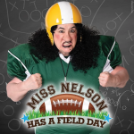 A woman with black hair and a football helment poses behind a logo that says Miss Nelson Has A Field Day