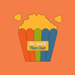 Smith Film Club Logo features a popcorn bucket stripped with the Smith's colors