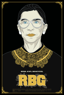 RBG movie poster features an illustrated portrait of Justice Bader Ginsburg with RBG in yellow print underneath.