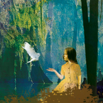 A young girl wearing a yellow dress poses in a bayou as a bird flies near her.