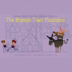 Purple background features illustration of two men dressed as burglars and running from a stacked tower of farm animals
