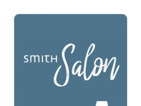 Smith Salon logo features a blue text bubble and yellow couch with a white floor lamp