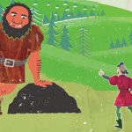 Illustration of a man from the Middle Ages pointing at a giant.