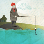 Illustration of a fisherman standing on an embankment with his fishing pole in his hand