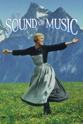 The Sound of Music movie poster. Julie Andrews poses with arms wide open on a grassy hill.