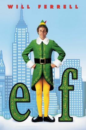 Will Ferrell, dressed as a Christmas elf, poses on the Elf film poster