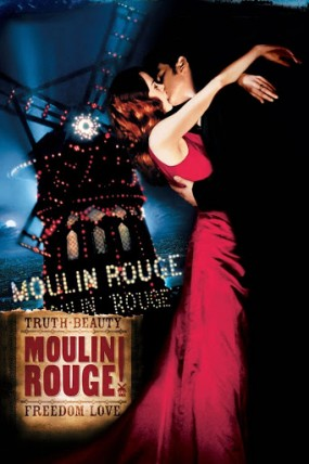 Moulin Rouge film poster featuring Nicole Kidman and Ewan McGregor embraced and kissing
