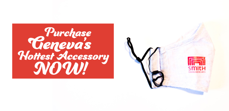 Purchase Geneva's hottest accessory now! (a photo of a grey facemask branded with a red Smith logo appears to the right of the text)