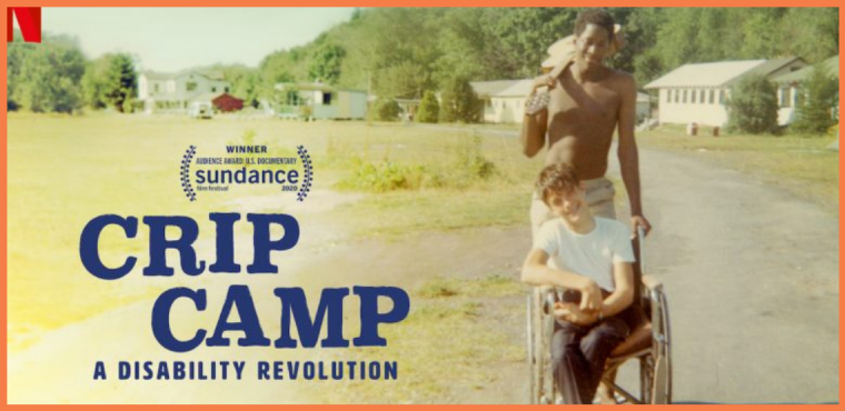 Crip Camp movie poster. A black teen boy poses with a guitar over his shoulder, standing behind a young wheelchair bound white boy in a rural setting.