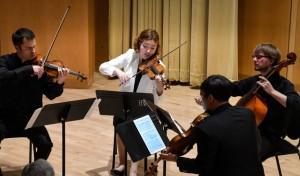 A string quartet performs