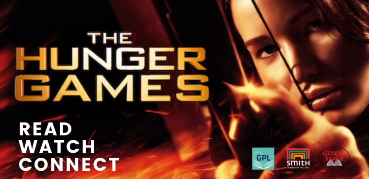 The Hunger Games, Read, Watch, Connect. Jennifer Lawrence holds a flamed bow and arrow in her portrayal of Katniss Everdeen