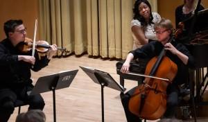 A piano trio performs