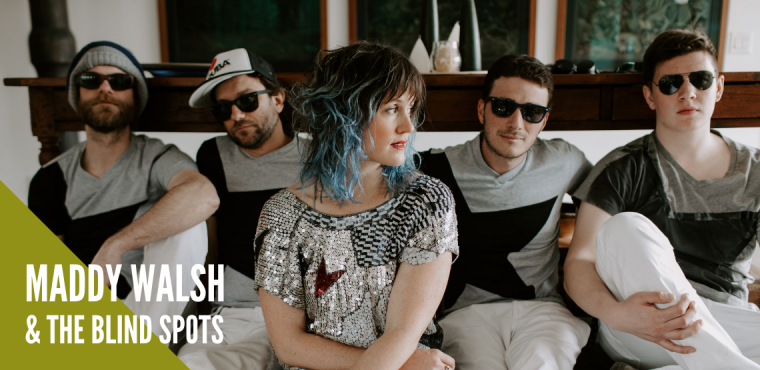 Members of Maddy Walsh and The Blind Spots pose together