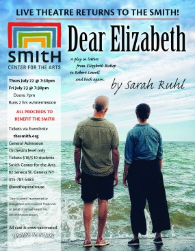Dear Elizabeth poster features a man and a woman standing on a shoreline looking out into the water